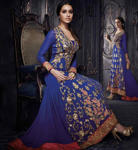 Shraddhakapoor blue floor lenght anarkali dress