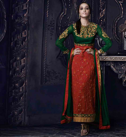 Shraddha kapoor DRESSES green and maroon straight cut salwar kameez for weddings
