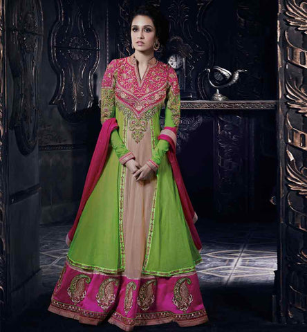 Shraddha_kapoor green and chikoo anarkali dress