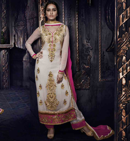 Shraddhakapoor straight off white salwar suit