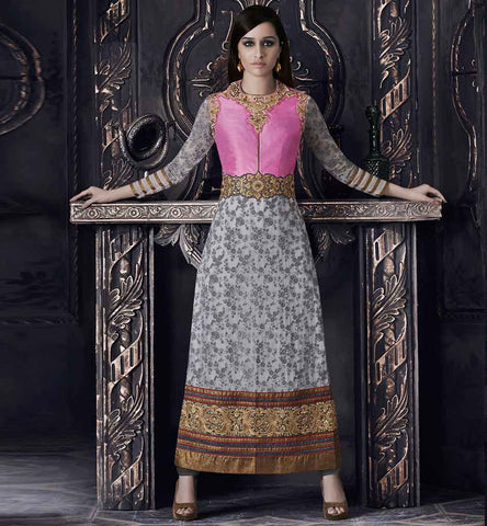 Unique look Shraddhakapoor grey & pink salwar suit
