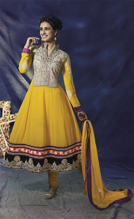 STYLISH YELLOW GEORGETTE ANARKALI CHURIDAR DRESS 1442