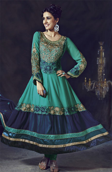 OUTSTANDING  SEA GREEN CHURIDAR DRESS 1443