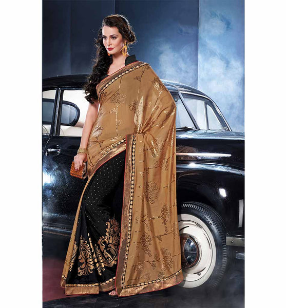 EYE-CATCHING BLACK & COFFEE CHANDERI SILK & GEORGETTE SAREE