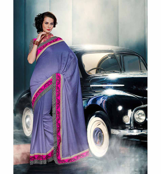PLEASING PURPLE VISCOSE SAREE