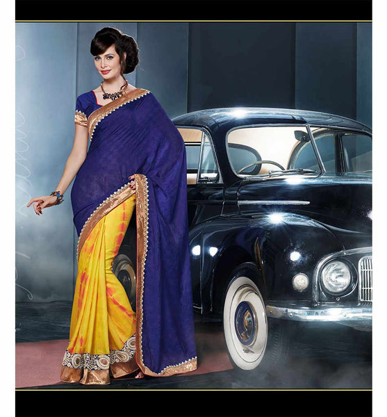BEAUTIFUL BLUE & YELLOW VISCOSE & BANDHEJ SAREE