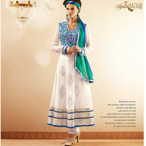 WONDERFUL WHITE GEORGETTE SALWAR KAMEEZ