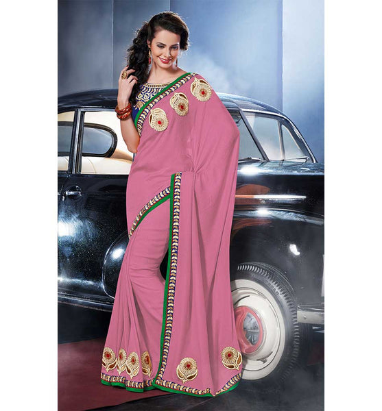 PRETTY PINK VISCOSE SAREE
