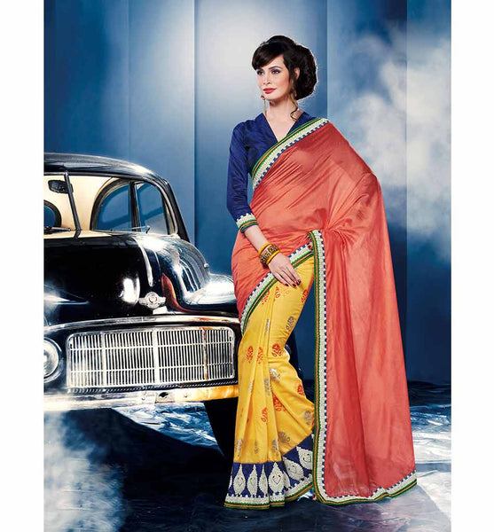 OUT-STANDING ORANGE & YELLOW CHANDERI SILK & GEORGETTE SAREE