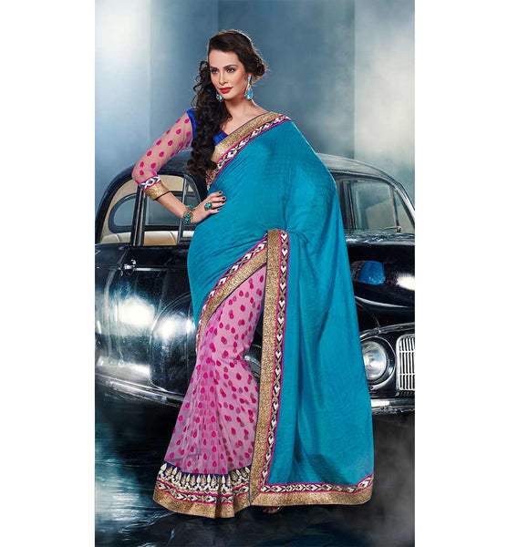 BEWITCHING BLUE & PINK VISCOSE & NET SAREE
