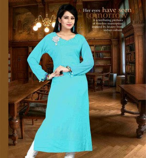 LOVELY LIGHT BLUE DESIGNER COTTON LONG KURTI