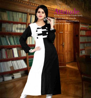 BLACK & WHITE DESIGNER COTTON LONG KURTI