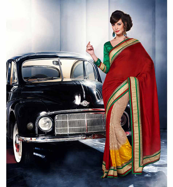 MAJESTIC MAROON & CREAM VISCOSE SAREE