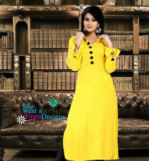 YELLOW DESIGNER COTTON LONG KURTI
