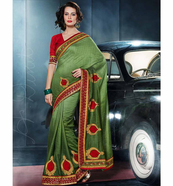 GORGEOUS GREEN VISCOSE SAREE