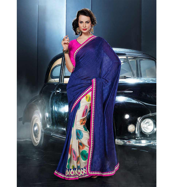 UNIQUE BLUE WITH MULTICOLOR PRINTED VISCOSE SAREE