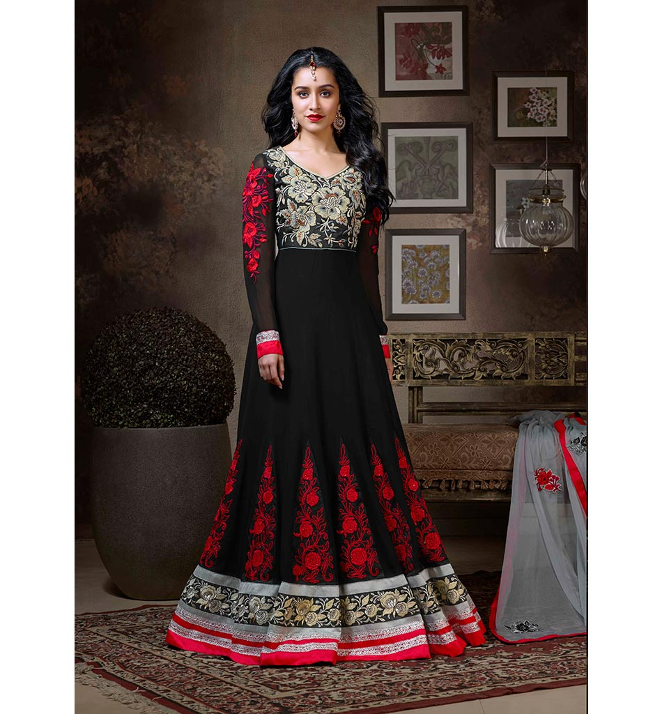 1118-A BEWITCHING KHWAAB BLACK FLOOR LENGTH SHRADDHA KAPOOR DRESS ANKS1118