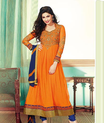 ​Look Refreshing in this bright orange and blue colored Chiffon anarkali. With beautiful handwork on front and sleeves its perfect to wear on any occasion