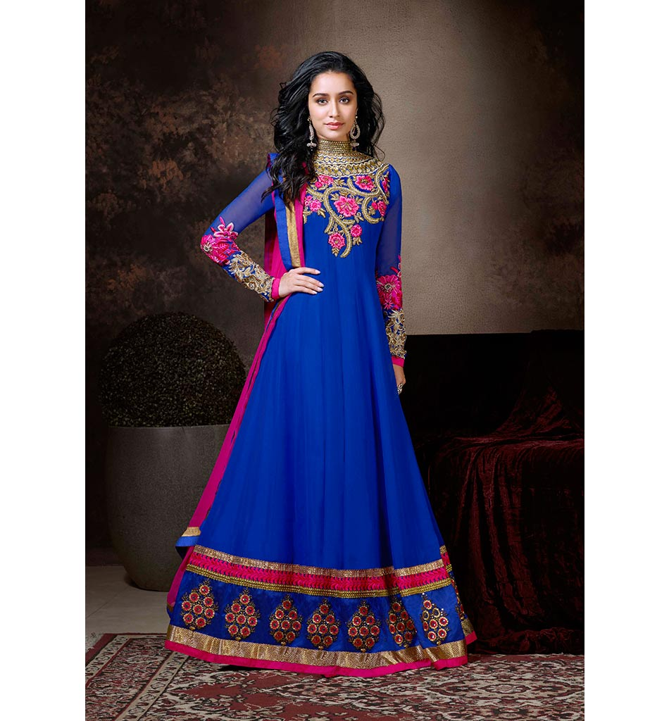 1120 BOLD BLUE COLOR SHRADDHA KAPOOR DRESS ANKS1120 - EK VILLIAN - KHWAAN ANMOL SHRADDHA KAPOOR 4