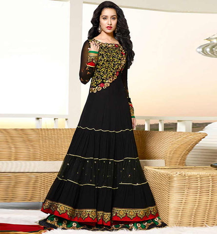 1126A BEAUTIFUL BLACK SHRADDHA KAPOOR ANARKALI DRESS ANKS1126