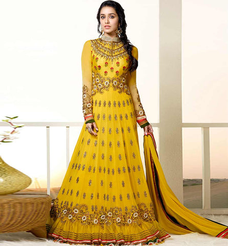 1127A STUNNING YELLOW SHRADDHA KAPOOR ANARKALI DRESS ANKS1127