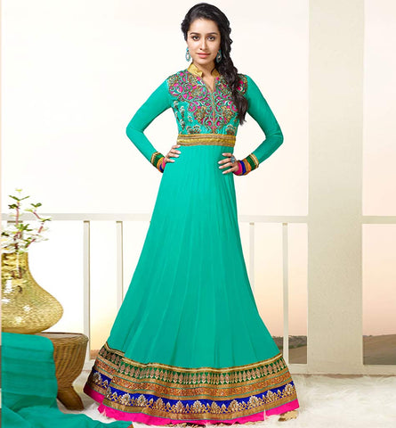 1129A GORGEOUS GREEN SHRADDHA KAPOOR ANARKALI DRESS ANKS1129