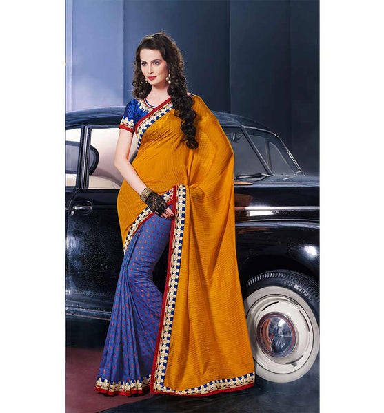 EXCLUSIVE VISCOSE YELLOW & PURPLE SAREE