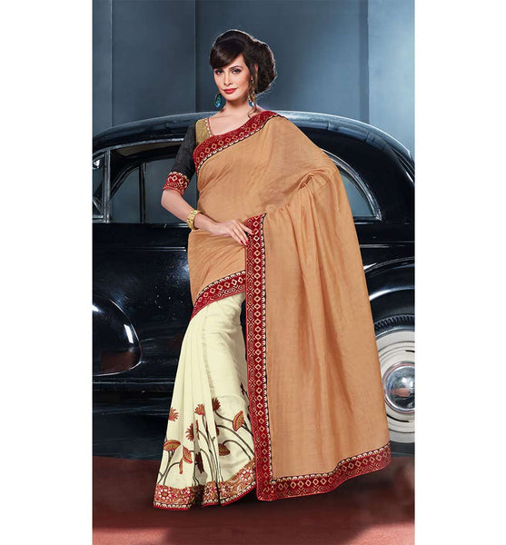 AMAZING CREAM & COFFEE VISCOSE SAREE