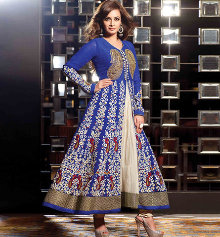 12004 BEAUTIFUL BLUE DIA MIRZA ANARKALI SUIT RTHI12004