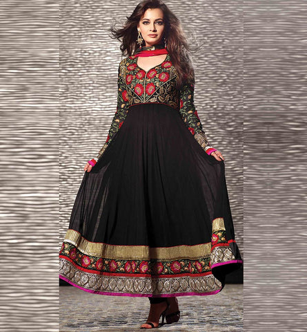 12005 DIA MIRZA BEWITCHING BLACK ANARKALI SUIT RTHI12005