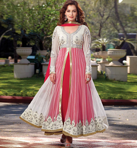 12006 DIA MIRZA OFF-WHITE & MAROON ANARKALI SUIT RTHI12006