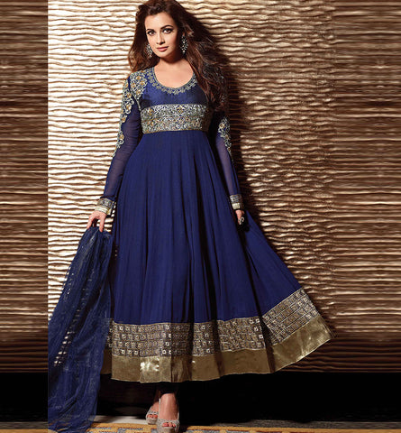 12008A DIA MIRZA BEAUTIFUL BLUE ANARKALI SUIT RTHI12008