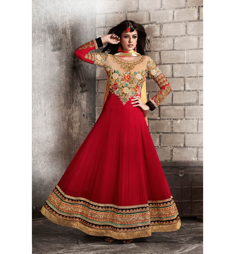 RAVISHING RED GEORGETTE ANARKALI SUIT