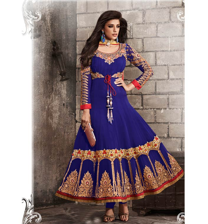 BEWITCHING BLUE GEORGETTE ANARKALI SUIT