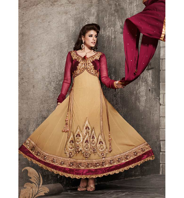 BEAUTIFUL BROWN KOTI STYLE GEORGETTE ANARKALI SUIT