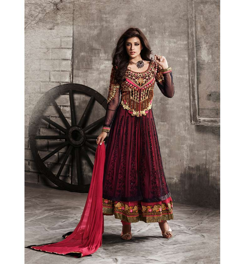 EYE-CATCHING DARK PINK NET ANARKALI SUIT