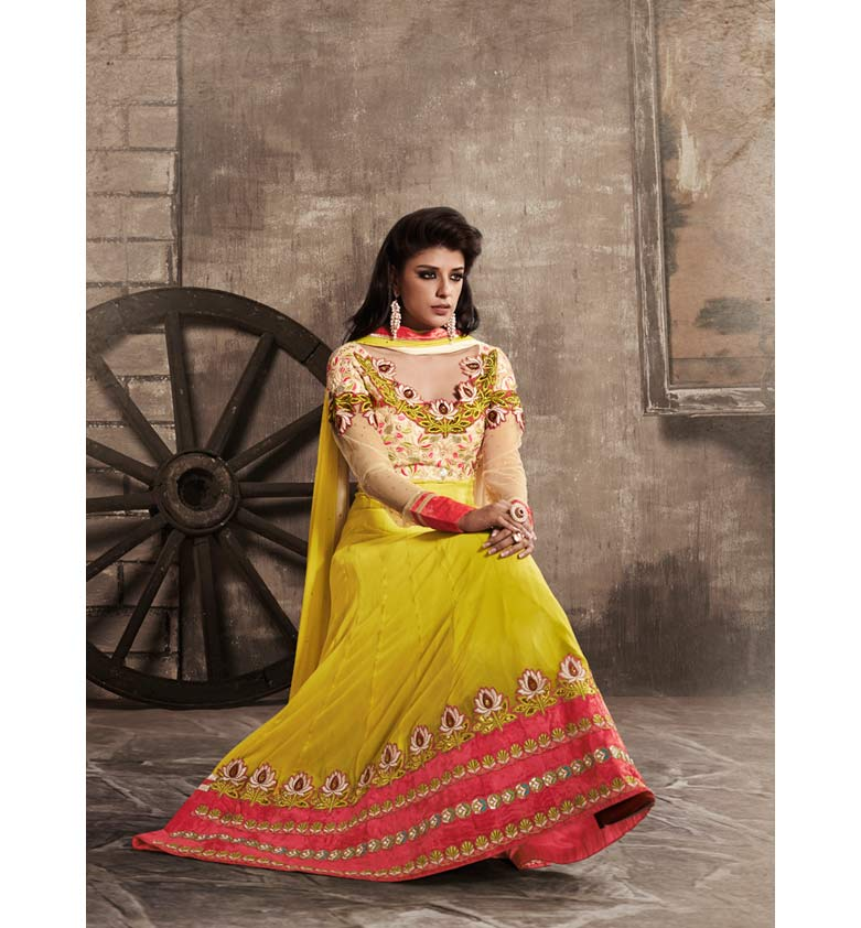 EXCITING YELLOW GEORGETTE ANARKALI SUIT