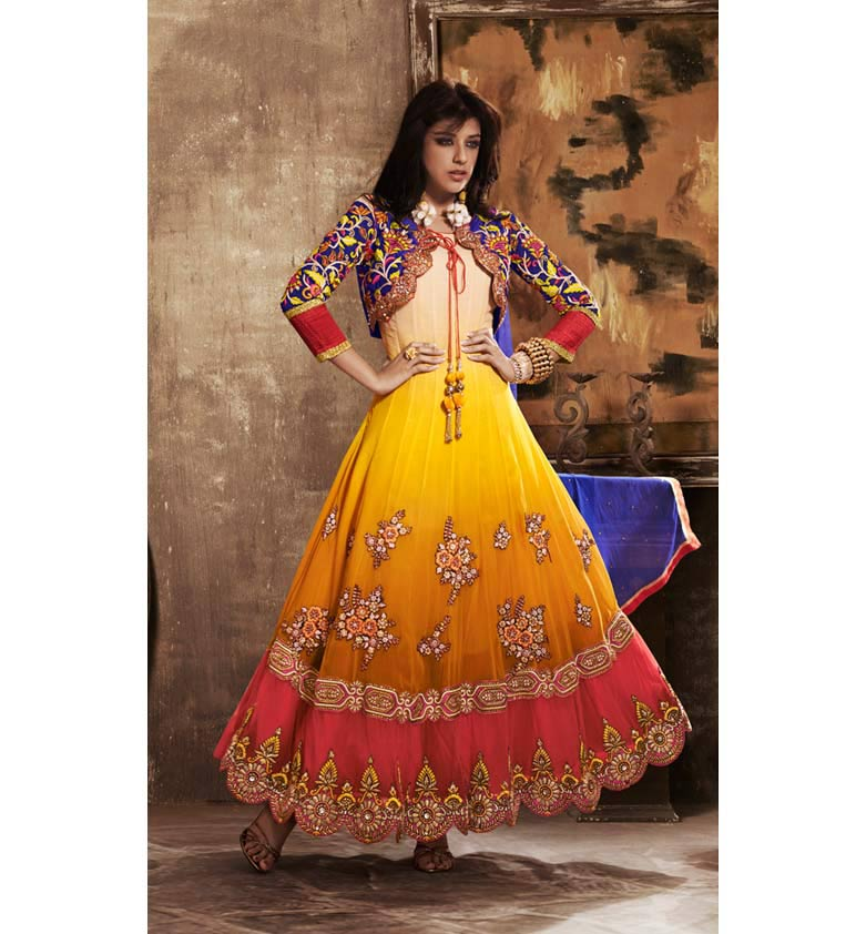 SHADED KOTI LOOK GEORGETTE ANARKALI SUIT