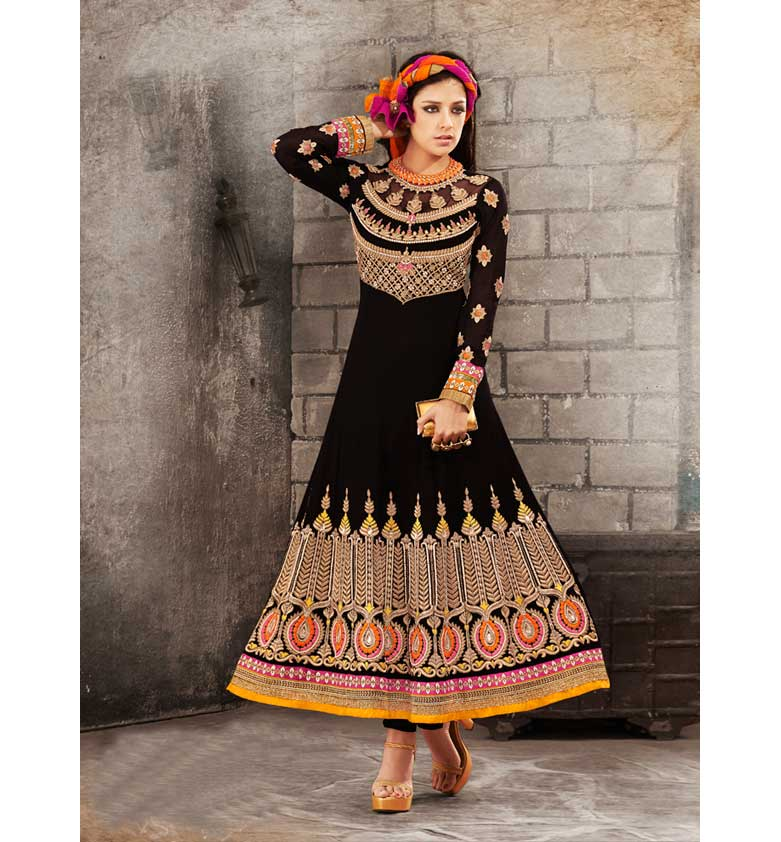BEWITCHING BLACK GEORGETTE ANARKALI SUIT