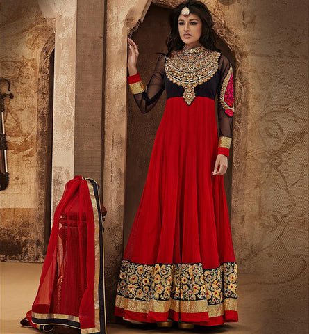 1822 RAMA SAAZ RAVISHING RED GEORGETTE ANARKALI SALWAR SUIT RMSZ1822