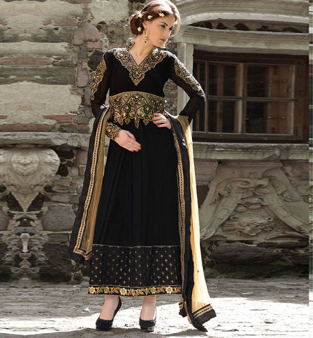 2003 BEWITCHING BLACK ANARKALI SALWAR SUIT INZH2003