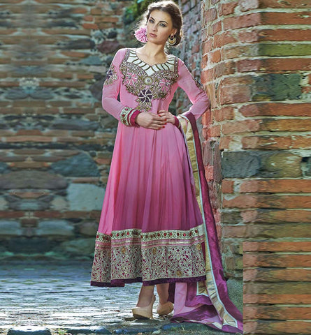 2005 PEPPY PINK ANARKALI SALWAR SUIT INZH2005
