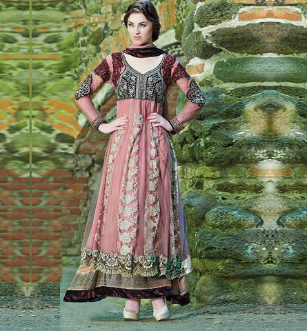 2007 PLEASING PINK ANARKALI SALWAR SUIT INZH2007
