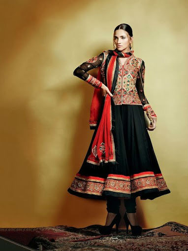 Charcoal & Cherry Red Anarkali Suit, fabric is pure georgette with chiffon dupatta red jacket with traditional geometric work in golden thread.