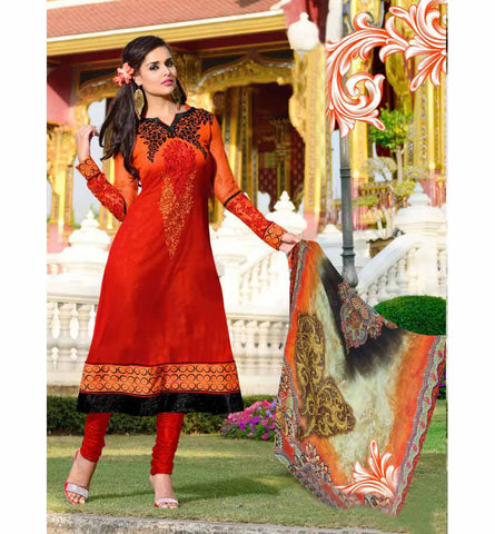 2012-A OUTSTANDING ORANGE SHADED SALWAR KAMEEZ RTRO2012