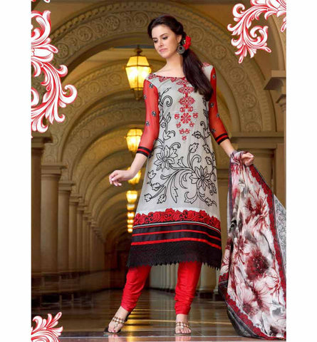 2013-A GLAMOROUS GREY GEORGETTE SALWAR SUIT RTRO2013