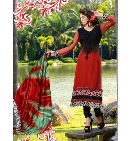 2014-A BEAUTIFUL BLACK & MAROON SALWAR SUIT RTRO2014