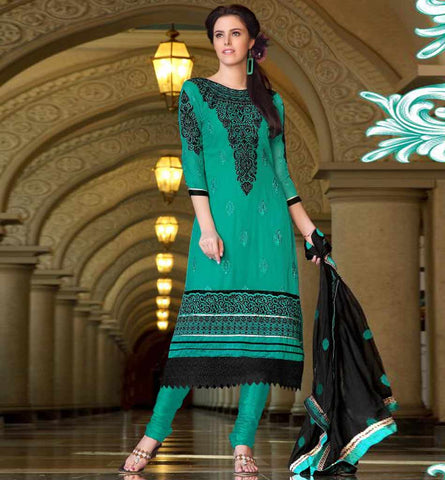 2016A GORGEOUS GREEN GEORGETTE SALWAR SUIT RTRO2016