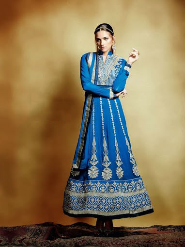 Royal Ink Blue Long Anarkali Suit in flowy georgette fabric delicate & geometric emroidery work in silver zari & thread.