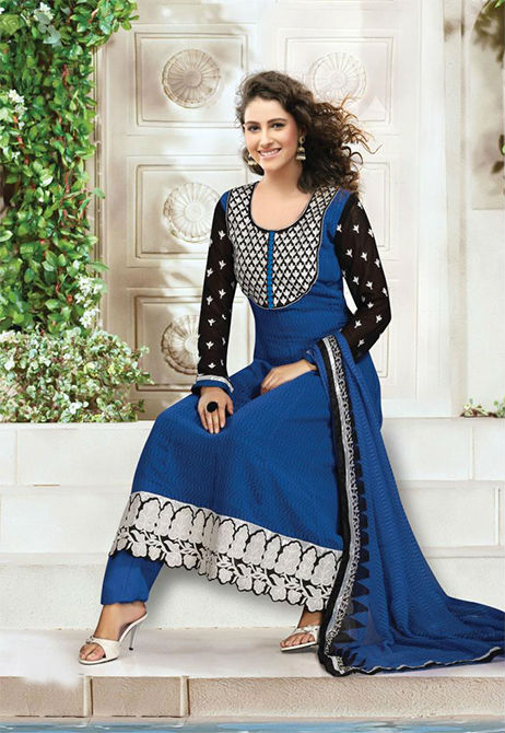 EXQUISITE BLUE GEORGETTE DESIGNER CHURIDAR DRESS 1488